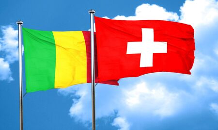 switzerland flag: Mali flag with Switzerland flag, 3D rendering