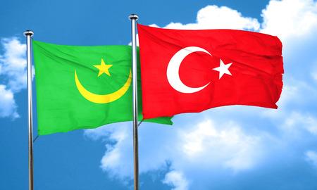 3d turkey: Mauritania flag with Turkey flag, 3D rendering Stock Photo