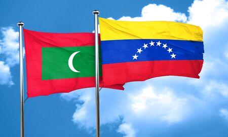 bandera de venezuela: Bandera de Maldivas con la bandera de Venezuela, 3D