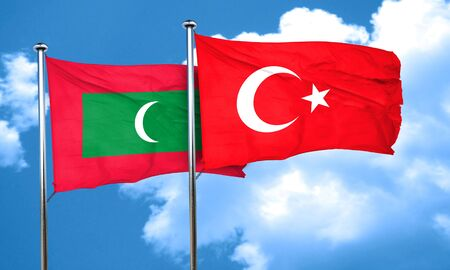 3d turkey: Maldives flag with Turkey flag, 3D rendering
