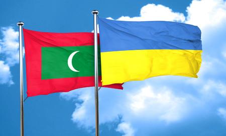 ukraine flag: Maldives flag with Ukraine flag, 3D rendering