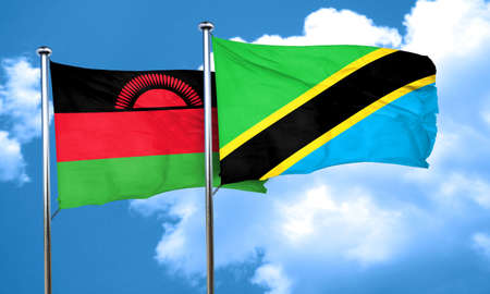 malawi flag: Malawi flag with Tanzania flag, 3D rendering