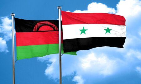 malawi: Malawi flag with Syria flag, 3D rendering