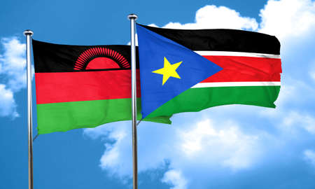 malawi flag: Malawi flag with South Sudan flag, 3D rendering