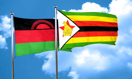 malawi flag: Malawi flag with Zimbabwe flag, 3D rendering