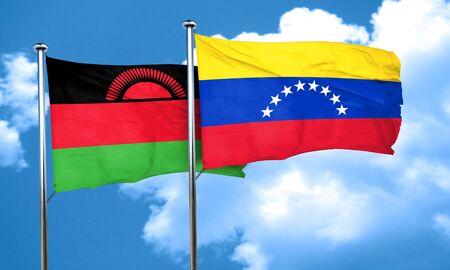 venezuela flag: Malawi flag with Venezuela flag, 3D rendering