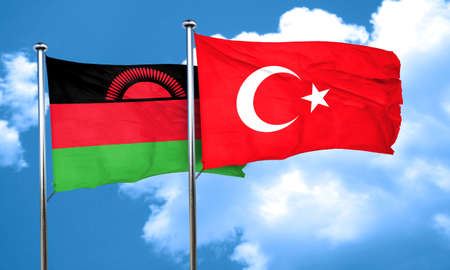 malawi flag: Malawi flag with Turkey flag, 3D rendering