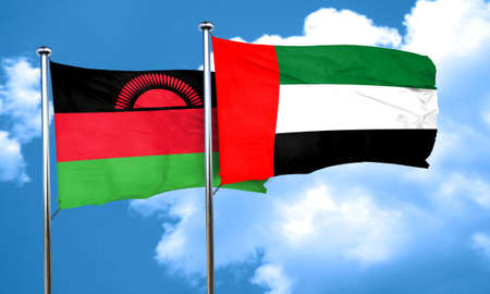 malawi flag: Malawi flag with UAE flag, 3D rendering
