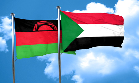 malawi flag: Malawi flag with Sudan flag, 3D rendering Stock Photo