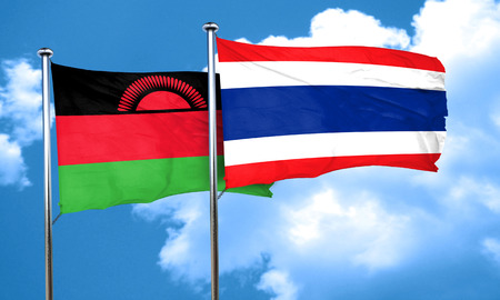 malawi flag: Malawi flag with Thailand flag, 3D rendering