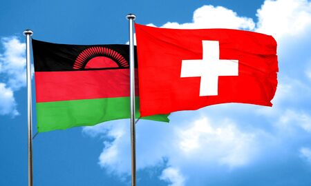 malawi flag: Malawi flag with Switzerland flag, 3D rendering