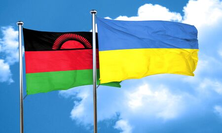 malawi flag: Malawi flag with Ukraine flag, 3D rendering Stock Photo