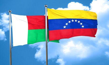 bandera de venezuela: bandera de Madagascar con la bandera de Venezuela, 3D