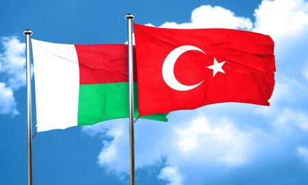 turkey flag: Madagascar flag with Turkey flag, 3D rendering