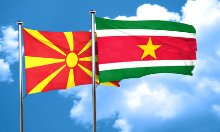 macedonia: Macedonia flag with Suriname flag, 3D rendering Stock Photo