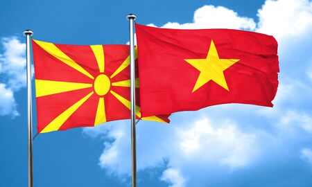 vietnam flag: Macedonia flag with Vietnam flag, 3D rendering