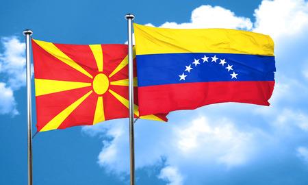 bandera de venezuela: Macedonia flag with Venezuela flag, 3D rendering Foto de archivo