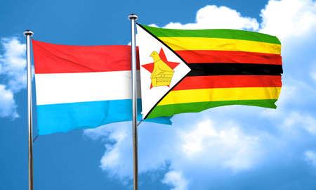 zimbabue: Luxembourg flag with Zimbabwe flag, 3D rendering