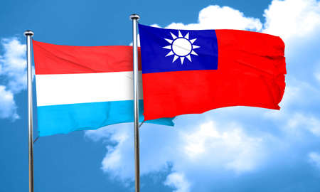 luxembourg: Luxembourg flag with Taiwan flag, 3D rendering