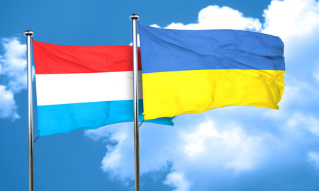 luxembourg: Luxembourg flag with Ukraine flag, 3D rendering