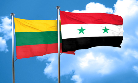 syria: Lithuania flag with Syria flag, 3D rendering Stock Photo