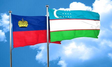 liechtenstein: Liechtenstein flag with Uzbekistan flag, 3D rendering
