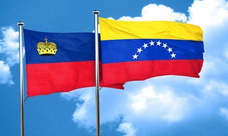 venezuela flag: Liechtenstein flag with Venezuela flag, 3D rendering