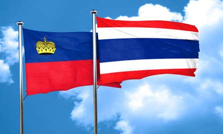 liechtenstein: Liechtenstein flag with Thailand flag, 3D rendering