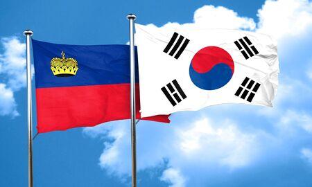 liechtenstein: Liechtenstein flag with South Korea flag, 3D rendering