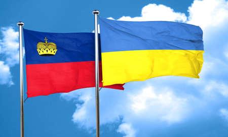 liechtenstein: Liechtenstein flag with Ukraine flag, 3D rendering