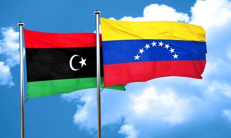 venezuela flag: Libya flag with Venezuela flag, 3D rendering