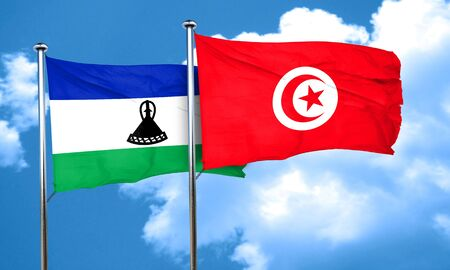 lesotho: Lesotho flag with Tunisia flag, 3D rendering
