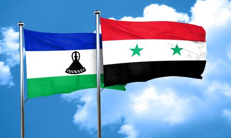 lesotho: Lesotho flag with Syria flag, 3D rendering Stock Photo