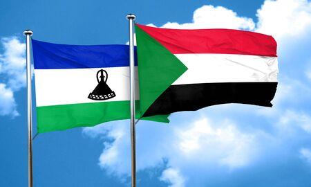 lesotho: Lesotho flag with Sudan flag, 3D rendering