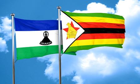 lesotho: Lesotho flag with Zimbabwe flag, 3D rendering Stock Photo