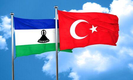 turkey flag: Lesotho flag with Turkey flag, 3D rendering