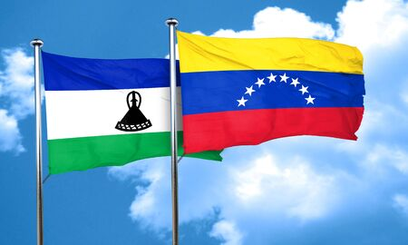 venezuela flag: Lesotho flag with Venezuela flag, 3D rendering