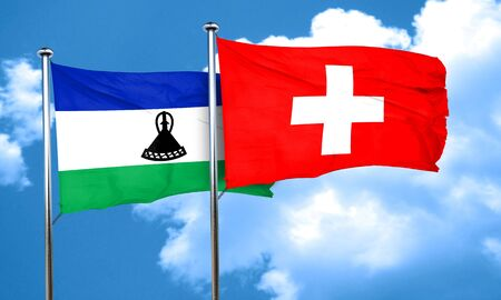switzerland flag: Lesotho flag with Switzerland flag, 3D rendering