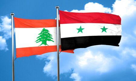 syria: Lebanon flag with Syria flag, 3D rendering