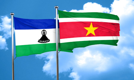 suriname: Lesotho flag with Suriname flag, 3D rendering