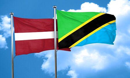 latvia flag: Latvia flag with Tanzania flag, 3D rendering Stock Photo