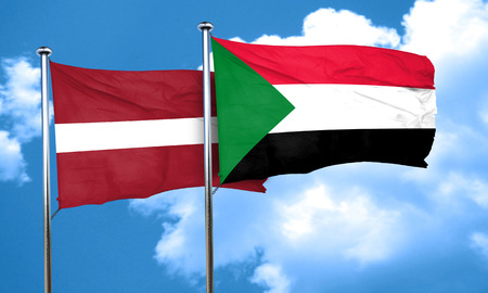 latvia flag: Latvia flag with Sudan flag, 3D rendering