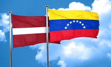 venezuela flag: Latvia flag with Venezuela flag, 3D rendering