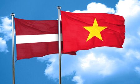 latvia flag: Latvia flag with Vietnam flag, 3D rendering