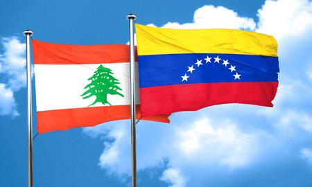 bandera de venezuela: bandera de Líbano con la bandera de Venezuela, 3D