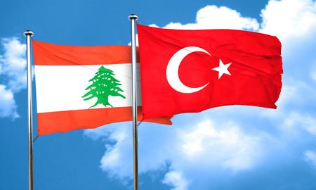 3d turkey: Lebanon flag with Turkey flag, 3D rendering Stock Photo