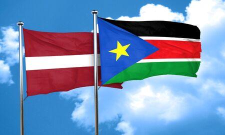 latvia flag: Latvia flag with South Sudan flag, 3D rendering