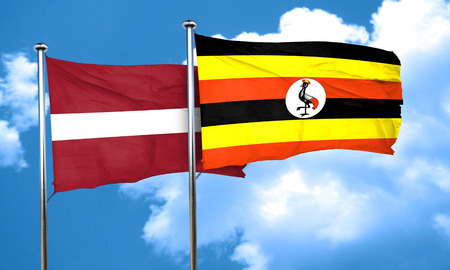 latvia flag: Latvia flag with Uganda flag, 3D rendering Stock Photo