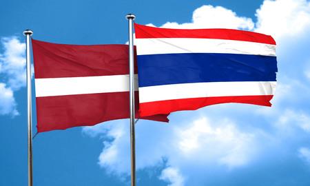 latvia flag: Latvia flag with Thailand flag, 3D rendering