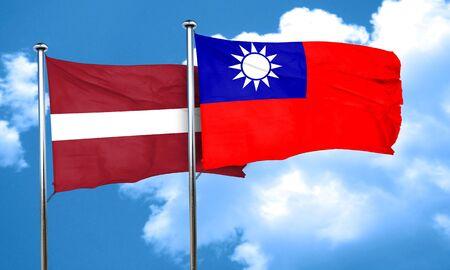 taiwanese: Latvia flag with Taiwan flag, 3D rendering